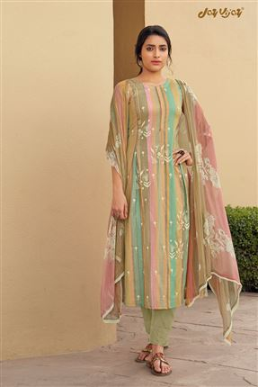 image of Pretty Multi Color Pure Cotton Fabric Digital Print Function Wear Designer Salwar Suit