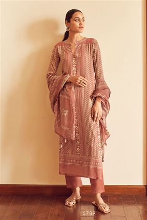 image of Pretty Peach Color Bemberg Silk Fabric Printed Salwar Suit
