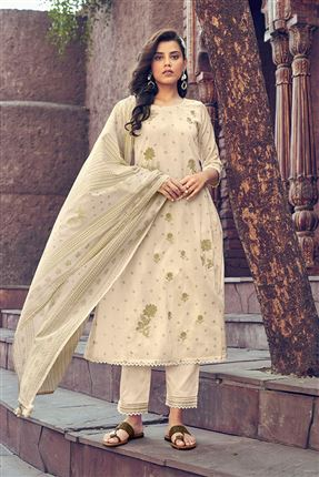 image of Splendiferous Beige Colored Kota Fabric Festive Wear Printed Designer Dress