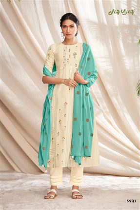 image of Striking Beige Colored Pure Cotton Fabric Party Wear Printed Designer Salwar Kameez