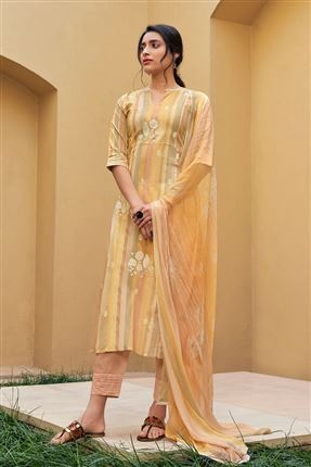 image of Striking Cream Color Pure Cotton Fabric Digital Print Function Wear Designer Salwar Suit