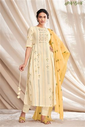 image of Stunning Beige Colored Pure Cotton Fabric Party Wear Printed Designer Salwar Kameez
