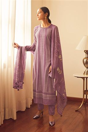 image of Stunning Violet Color Bemberg Silk Fabric Printed Salwar Suit